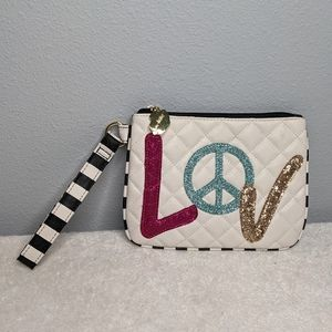 Betsy Johnson Peace Love Glitter Quilted Wristlet